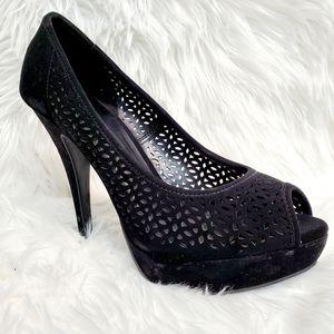 Apt. 9 Kennedy Black Platform Peep Toe Heels 8.5